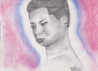Poster featuring the drawing Nina Simone by David Jackson