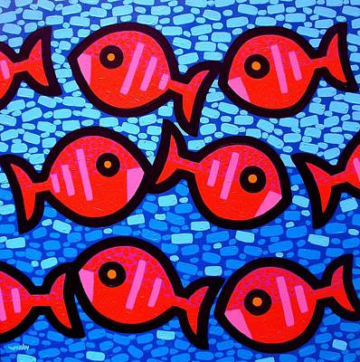 Nine Happy Fish Poster by John  Nolan