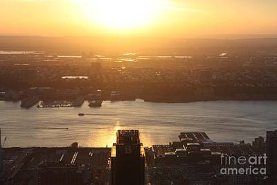 Nj Sunset From The Empire State Building Poster by John Telfer