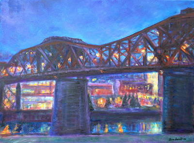 City At Night Downtown Evening Scene Original Contemporary Painting For Sale Poster