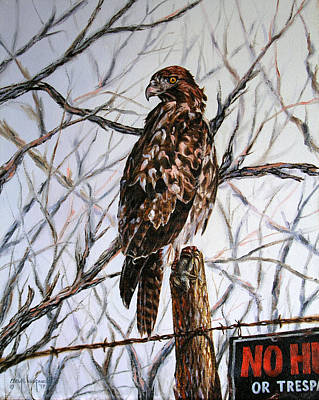 Poster featuring the painting No Hunting by Craig T Burgwardt