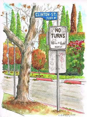 No Turn Sign In Clinton Street - West Hollywood - California Poster by Carlos G Groppa