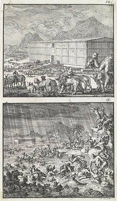 Noah Loads All The Animals In The Ark, The Flood Poster by Jan Luyken