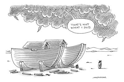 Noah Stands Before Two Boats And A Voice Poster by Mick Stevens