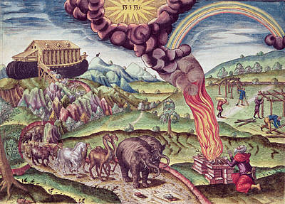 Noahs Ark, Illustration From Brevis Narratio..., Published By Theodore De Bry, 1591 Coloured Poster by Th. Bry