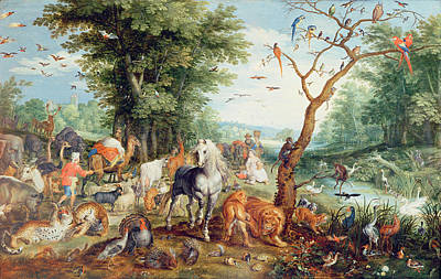 Noahs Ark Oil On Canvas Poster by Jan Snellinck