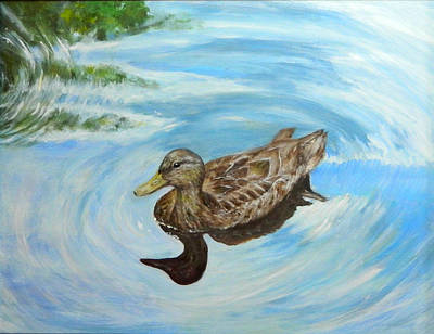 Poster featuring the painting Noah's Duck by Sandra Nardone