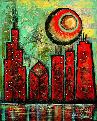 Noche Roja - Red Night - Art By Laura Gomez Poster