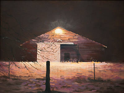 Poster featuring the painting Nocturnal Barn by Rebecca Matthews