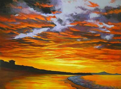 Poster featuring the painting Noosa Sunset by Chris Hobel