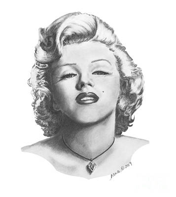 Poster featuring the drawing Norma Jeane by Marianne NANA Betts