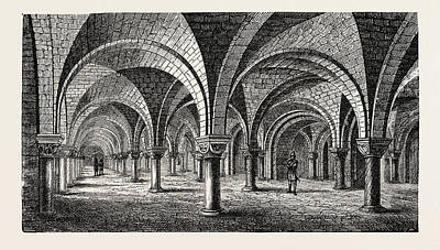 Norman Architecture Crypt Of Canterbury Cathedral Poster by English School
