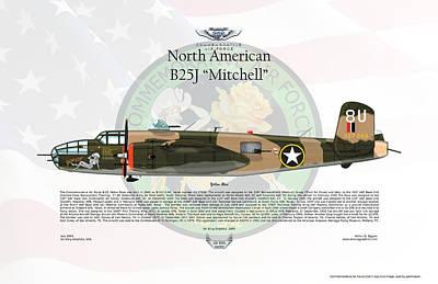 North American B-25j Mitchell Yellow Rose Poster