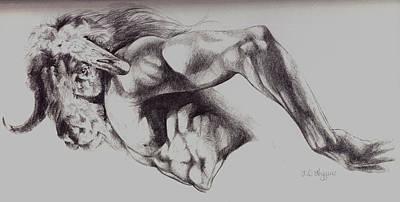 North American Minotaur Pencil Sketch Poster