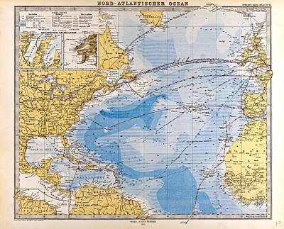 North Atlantic Ocean Map Gotha Justus Perthes 1872 Atlas Poster by English School