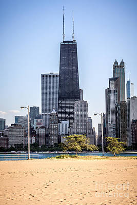 North Avenue Beach With Chicago Skyline Poster