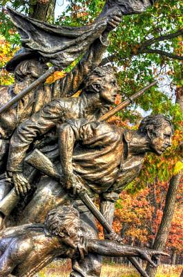 North Carolina At Gettysburg - Yonder The Trees Men No. 2 - Picketts Charge Begins Mc Millan Woods Poster by Michael Mazaika
