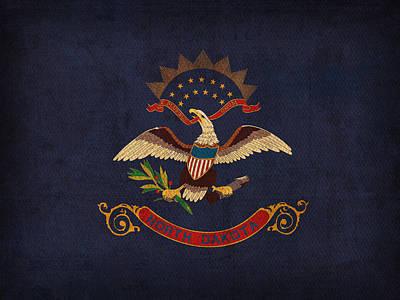 North Dakota State Flag Art On Worn Canvas Poster