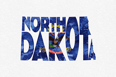 North Dakota Typographic Map Flag Poster
