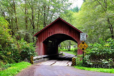 North Fork Yachats Covered Bridge Poster by Ansel Price