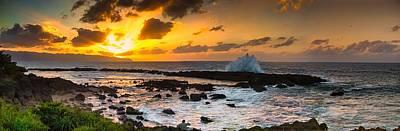 North Shore Sunset Crashing Wave Poster