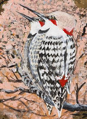 Poster featuring the painting Northern Flickers by Cathy Long