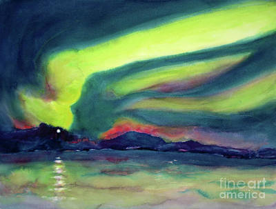 Northern Lights On Superior Shores Poster by Kathy Braud