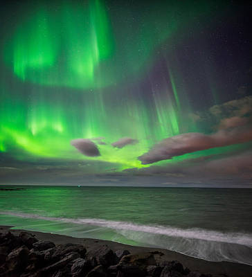 Northern Lights Over The Waves Poster by Panoramic Images