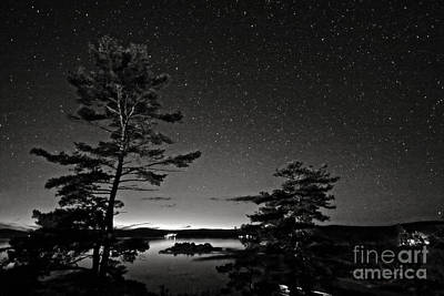 Northern Starry Sky Black White Poster