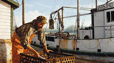 Poster featuring the painting Northwest Fisherman by Ron Crabb