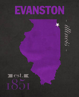 Northwestern University Wildcats Evanston Illinois College Town State Map Poster Series No 080 Poster by Design Turnpike