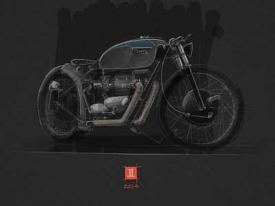 Poster featuring the drawing Norton Bobber by Jeremy Lacy
