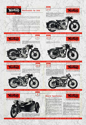 Norton Models For 1948 Poster by Mark Rogan