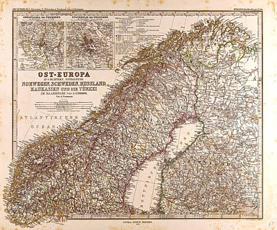 Norway Sweden Map 1872 Gotha Justus Perthes 1872 Atlas Poster by Norwegian School