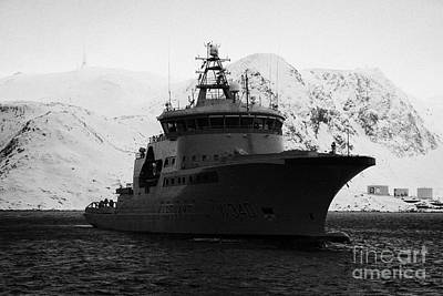 norwegian navy coastguard ship w340 barents sea Honningsvag Poster by Joe Fox