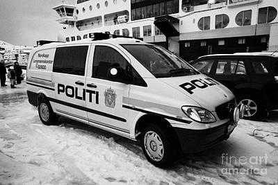 Norwegian Police Vehicle Outside Nordkapp Police Station Honningsvag Finnmark Norway Europe Poster by Joe Fox