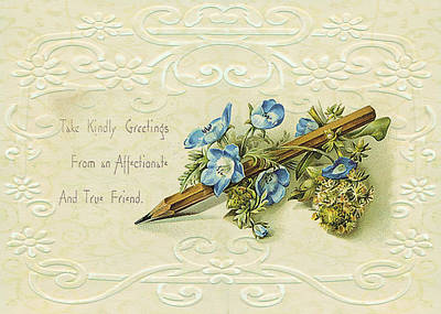 Poster featuring the digital art Nostalgic Greeting Card by Sandra Foster