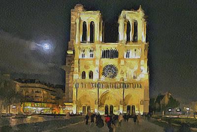 Noter Dame De Paris At Night 2 Poster