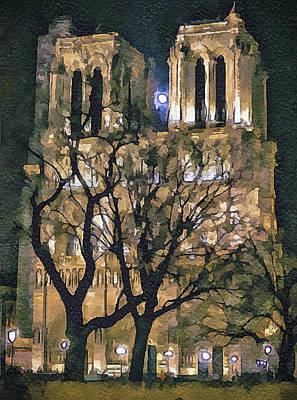 Noter Dame De Paris At Night Poster