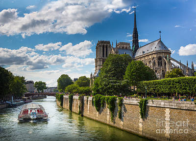 Notre Dame And The Seine River Poster by Inge Johnsson