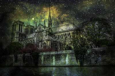 Notre Dame At Night Poster by James Bethanis