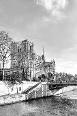 Notre Dame Cathedral On The River Seine Poster by Mark E Tisdale