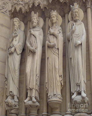 Poster featuring the photograph Notre Dame Cathedral Saints by Deborah Smolinske