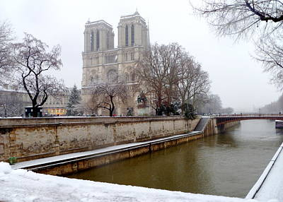 Notre Dame In Winter Poster