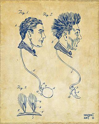 Novelty Wig Patent Artwork Vintage Poster
