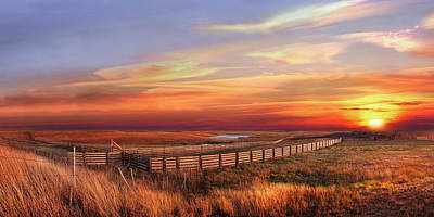 November Sunset On The Cattle Pens Poster