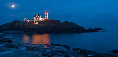 Nubble At Night Poster by Guy Whiteley