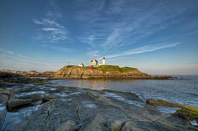 Nubble In Blue Poster by At Lands End Photography