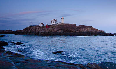 Nubble Light At Dusk Poster by Sherry Boylan