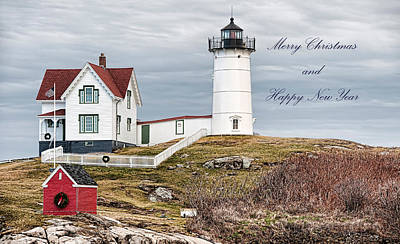 Poster featuring the photograph Nubble Light Christmas Card by Richard Bean